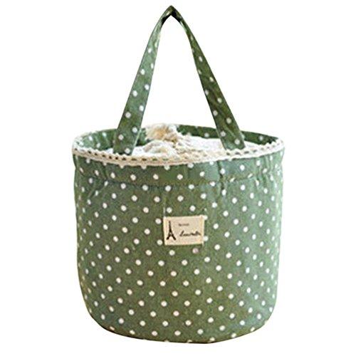 Meiyuan Portable Polka Dot Print Picnic Lunch Carry Bag Outdoor Food Storage Drawstring Tote Handbag