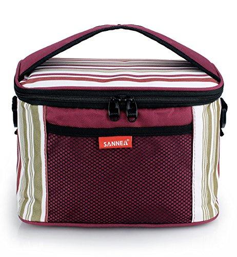 Insulated Lunch Cooler Bag with Adjustable Shoulder StrapOxford Bento Bag for Work SchoolRed