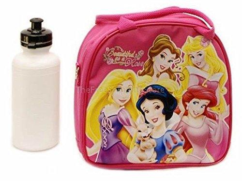 Disney Princesses Pink Lunch Bag for Kids with Water Bottle Adjustable Shoulder Strap
