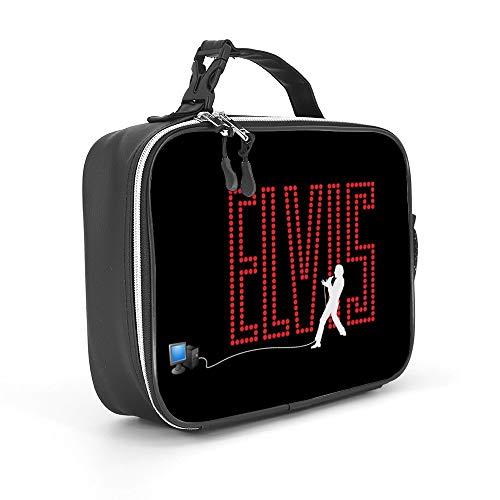 Bodanfu Detachable Leather Lunch Bag - Elv-is Pr-esley King of Roc-k N Roll - Cold Lunch Bag for Women Men Work Picnic or Travel