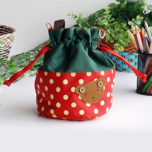 Bear - Crimson Blancho applique Kids fabric Art bucket bag  lunch lunch box  shopping bag 1981cm  1448cm  1600cm