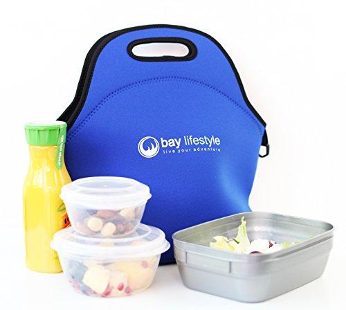 Neoprene Lunch Bag - Large 6 x 12 x 12 Bright Blue
