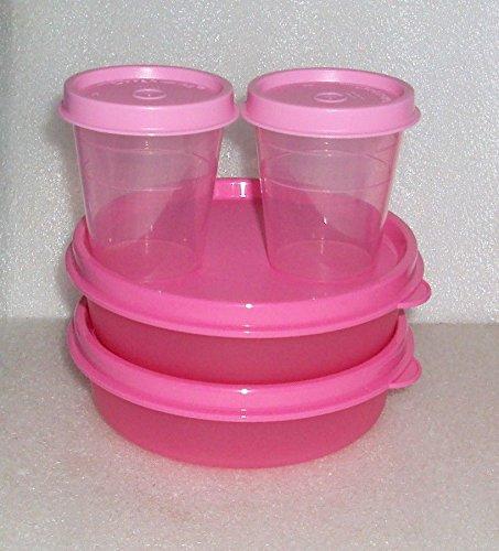 Tupperware Lunch Box Snack Set Bowls Little Wonders Midgets Pink Set 4