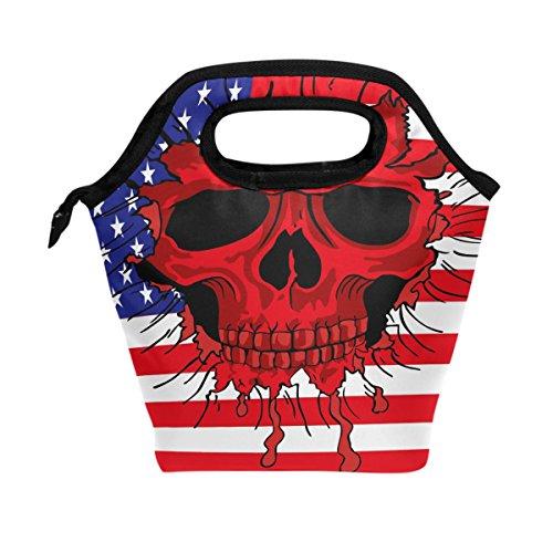 WOZO American Flag Sugar Skull Star Striped Insulated Lunch Bag Tote Bag Cooler Lunchbox Handbag for Outdoors School Girl Boy