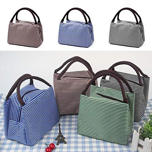 Zippem New Unisex Striped Thick Aluminum Foil Zipper Closure Lunch Bag Tote Lunch Bags