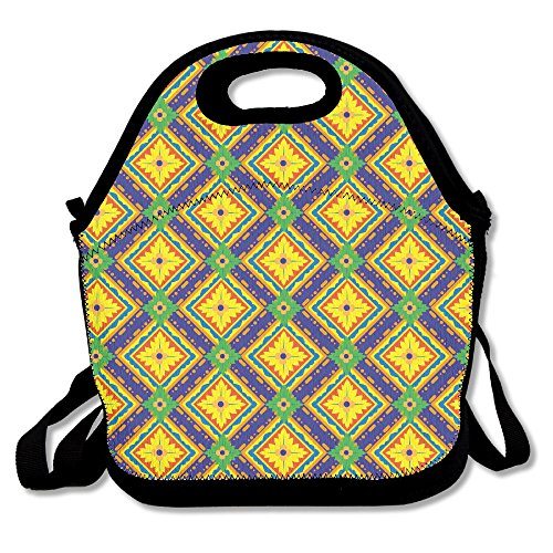 YWG Morocco Pattern Ziplock Lunch Tote Bag Portable Handbag Lunch Box Waterproof Insulated Food Container For Boys&Girls School Picnic Office Travel Outdoor