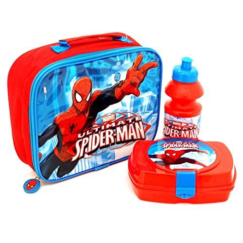 Childrens 3 Piece Insulated Spiderman Lunch Bag Set Sandwich Box Sports Bottle