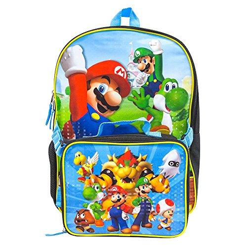 Super Mario School Backpack Lunch Box Book Bag Combo SET
