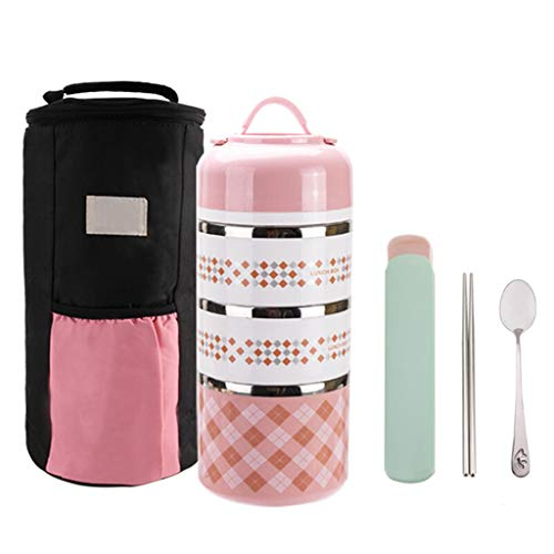 Multi-layer insulated lunch box stainless steel portable insulated barrel large-capacity sealed leak-proof lunch box lunch box send insulation bag  tableware XIA Color  Pink
