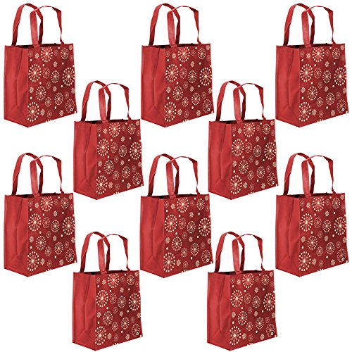 ReBagMe Large Reusable Grocery Bag Totes with Extra Reinforced Handles - Red Pack of 10