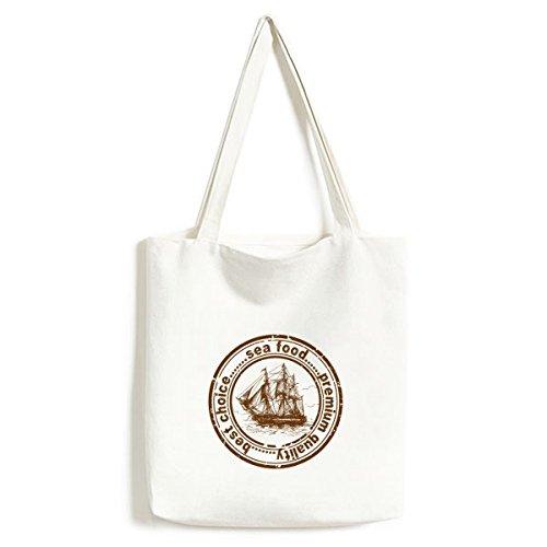 Sea Food BoatClassic Landmark Country City Postmark Illustration Pattern Fashionable Design Canvas Bag Environmentally Tote Large Capacity Shopping Bags