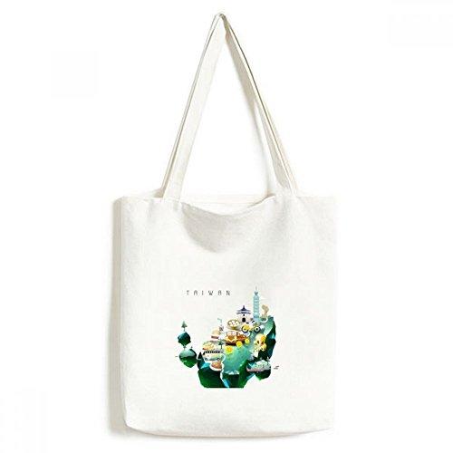 Travel Taiwan Food Attractions China Canvas Bag Environmentally Tote Large Gift Capacity Shopping Bags