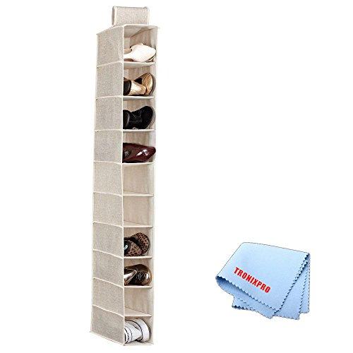 10 Shelf Hanging Closet Organizer in Beige  Tronix Microfiber Cleaning Cloth