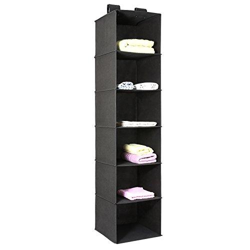 Hanging Closet Organizer Magicfly 6-Shelf Hanging Clothes Storage Box Collapsible Accessory Shelves Eco- Friendly Closet Cubby Sweater Handbag Organizer Easy Mount Black-