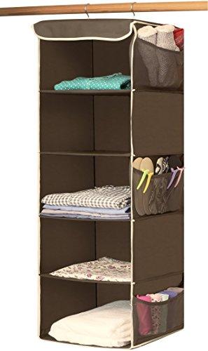 SimpleHouseware 5 Shelves Hanging Closet Organizer Bronze