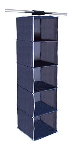 StorageManiac 5-shelf Hanging Closet Organizer with Loop Closure - Dark Blue