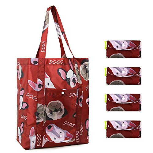 Reusable Groceries Bags Set of 4 Shopping Totes w Pouch Durable XLarge Hold 50 Lbs Cute Animal Gift Bags Packable Ripstop Nylon Reusable Bags for Shopping Red Dog Patterns