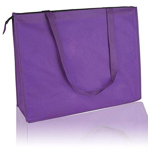 12 Pack Set of 12- Reusable Non Woven Jumbo Zippered Tote Bag Purple