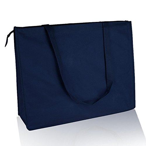 6 Pack Set of 6- Reusable Non Woven Jumbo Zippered Tote Bag Navy