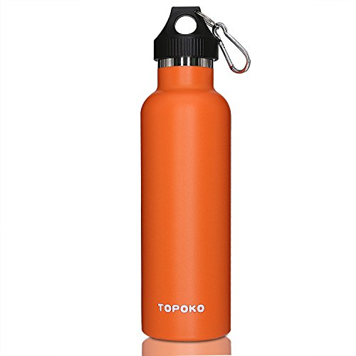 TOPOKO Top Quality Colored Non-Rusty Stainless Steel Vacuum Water Bottle Double Wall Insulated Thermos Sports Hike Travel Leak Proof Bottle BPA free-25OZ Bright Orange
