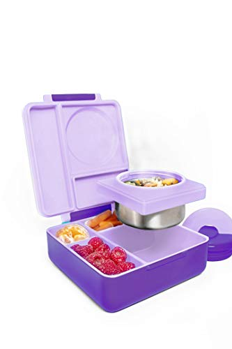 OmieBox Bento Box for Kids - Insulated Bento Lunch Box with Leak Proof Thermos Food Jar - 3 Compartments Two Temperature Zones - Purple Plum Single