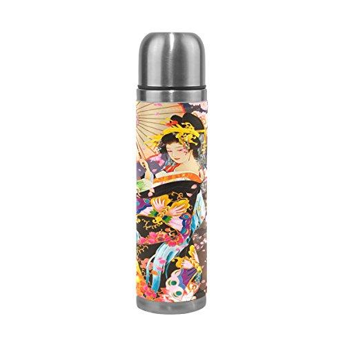 imobaby Jennifer Gorgeous Japanese Geisha Girl Under Moonlight Leak Proof Water Bottle Insulated Vacuum Stainless Steel Thermos