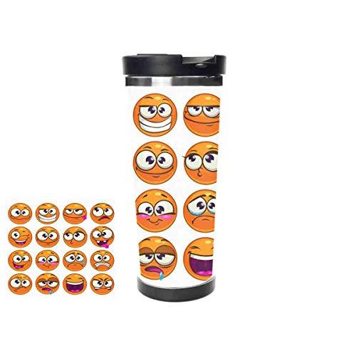 Orange Cartoon Round Characters Emoji Stainless Steel Thermos Water Bottle Vacuum Insulated Cup Leak Proof Double Vacuum Bottle Thermal Mug16oz 453ml