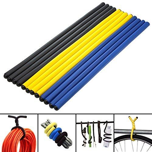 12 Magic 14 Twist Ties Foam Coated Flexible Storage Wrap Hook Hang Bicycle Tool by Aunger