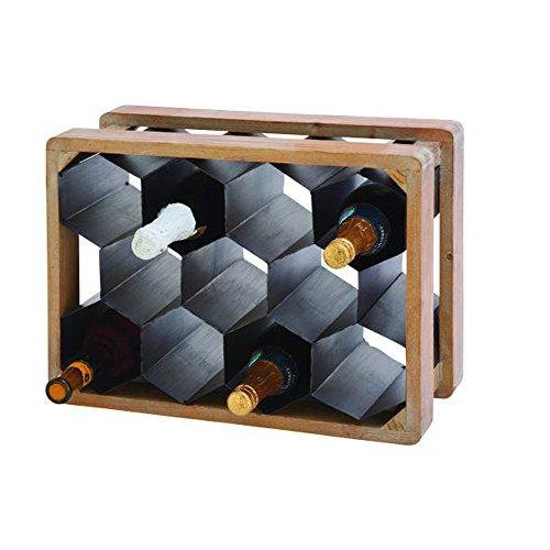 Benzara 47935 Antique Colonial Unique Metal Wood Wine Holder