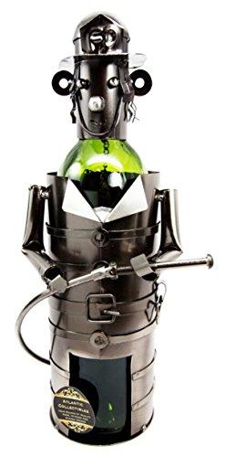 Brave Fireman Fire Fighter 911 Emergency Hand Made Metal Wine Bottle Holder Caddy