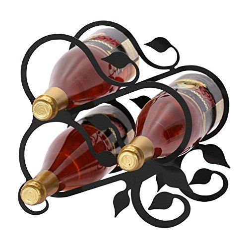 Iron Grapevine Wine Rack 3 Bottle - Heavy Duty Metal Wine Holder Wine Bottle Holder
