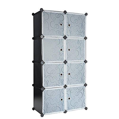 C&AHOME 8 Cube Storage Organizer Toy Rack Cabinet Wardrobe DIY Black Closet with White Doors