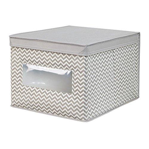 InterDesign Chevron Fabric ClosetDresser Drawer Storage Organizer Box for Clothing Shoes Handbags Jeans - Large TaupeNatural