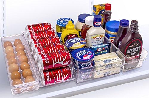 Sorbus Refrigerator and Freezer Storage Organizer Bins Stackable Pantry Storage with Handles 4 Piece Set