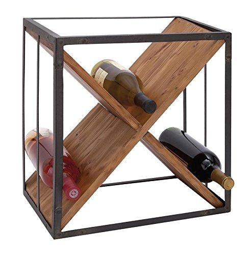 15 in Wood Metal Wine Rack