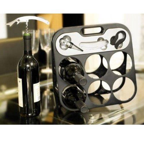 6 Bottle Folding Wine Rack and Bar Set