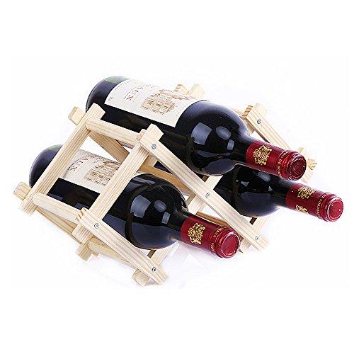 EtechMart 3-Bottle Pine Wooden Folding Wine Rack Natural Color
