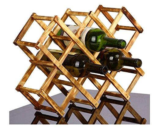 WaLaiKaAntique Wood wine holderfolding Home Furnishing 10 bottles of creative wine holder rack