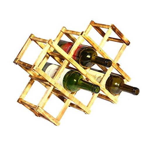 Wine Rack Foldable 10-Bottle Wine Shelves Creative Pine Wine Bottle Holder Folding Wine Rack Organizer Display Shelf Space Saver Wine Storage