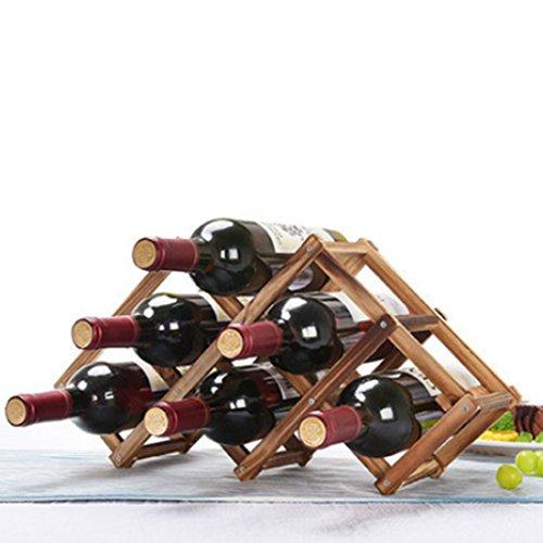 iTECHOR Creative Folding Wine Rack Simple Solid Wood Wine Storage Shelf6-Bottles Grid