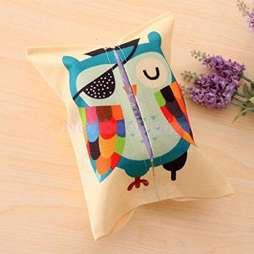 Cartoon Animal Tissue Paper Storage Box Cotton Linen Napkin Cover Holder 8 Color Type 8