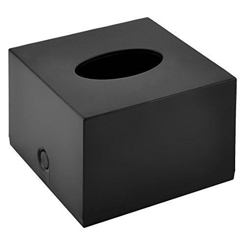 uxcell Plastic Square Home Hotel Bathroom Tissue Paper Storage Box Holder Case Black