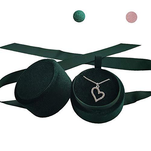 Beatilog Green Pendant Box - Mini Premium Velvet Round Necklace Jewelry Storage Gift Box with Elegant Silk Knot for Proposal Engagement Wedding Birthday Christmas Anniversary
