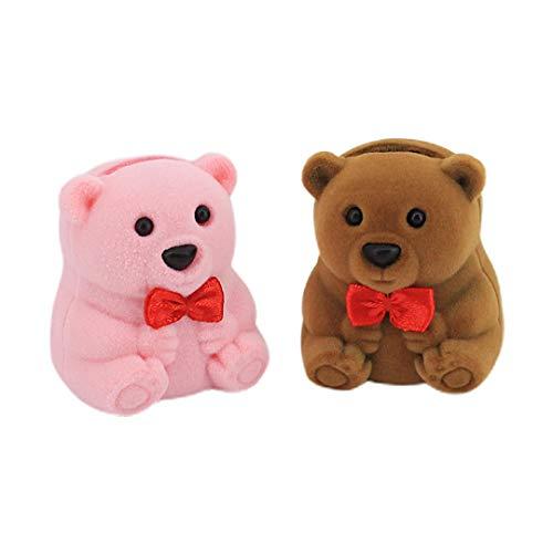 Naimo 2pcs Velvet Mini Bear Display Box Ring Pendant Earring Boxes Storage Case Gift Box for Proposal Engagement Wedding