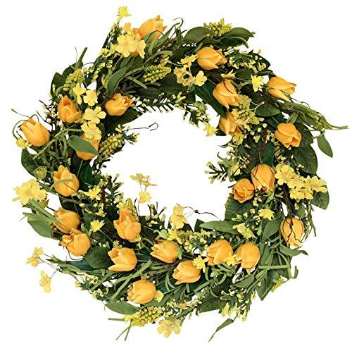 The Wreath Depot Wyndale Tulip Door Wreath 22 Inch Beautiful White Storage Gift Box