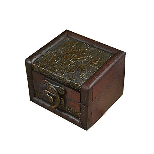 farawamu Jewelry Box Vintage Small Wooden Lock Jewelry Holder Necklace Bracelet Storage Gift Box Photo Color