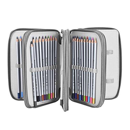 Colored Pencil Case Newcomdigi 72 Slot Pencil Case Large Art Case Multilayer Pencil Storage Case Bag Holder Pen Case Organizer with Compartment For Drawing Sketch Art School Kids Adults Gray