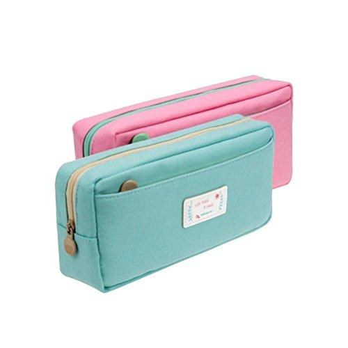 Samaz Students Super Large Capacity Canvas Pencil Case Pen Bag Pouch Stationary Case Makeup Cosmetic Bag