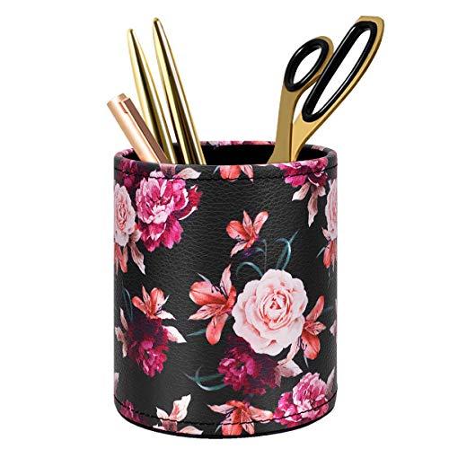 Pen Pencil Holder WAVEYU Floral Flower Pattern Pen Cup Container PU Leather Desk Organizer Stand Decor Brush Scissor Holder Desk Organizer Decoration for Office Desk Home Decorative Floral