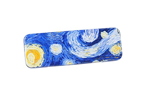 DAHO Tin Pencil Box With World Famous Arts for School Office Home Makeup Storage Starry Night